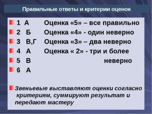 Правильные ответы и критерии оценок  1  А        Оценка «5» – все правильно