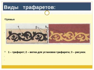 Виды   трафаретов: Прямые               1 – трафарет; 2 – метки для устан
