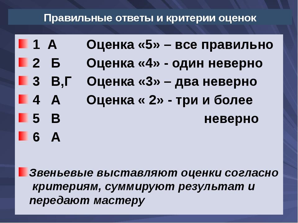 Правильные ответы и критерии оценок  1  А        Оценка «5» – все правильно...