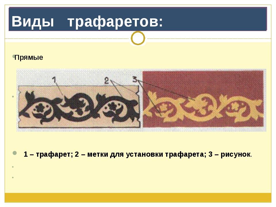 Виды   трафаретов: Прямые               1 – трафарет; 2 – метки для устан...