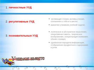 1. личностные УУД 2. регулятивные УУД 3. познавательные УУД 4. коммуникативны