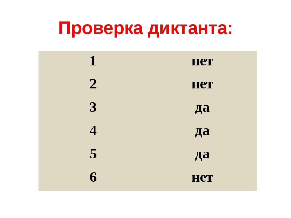Проверка диктанта: 1 нет 2 нет 3 да 4 да 5 да 6 нет