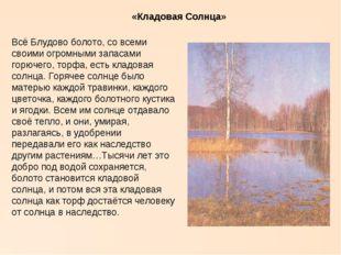 «Кладовая Солнца» Всё Блудово болото, со всеми своими огромными запасами горю