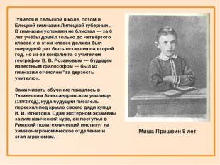 Учился в сельской школе, потом в Елецкой гимназии Липецкой губернии . В гимн
