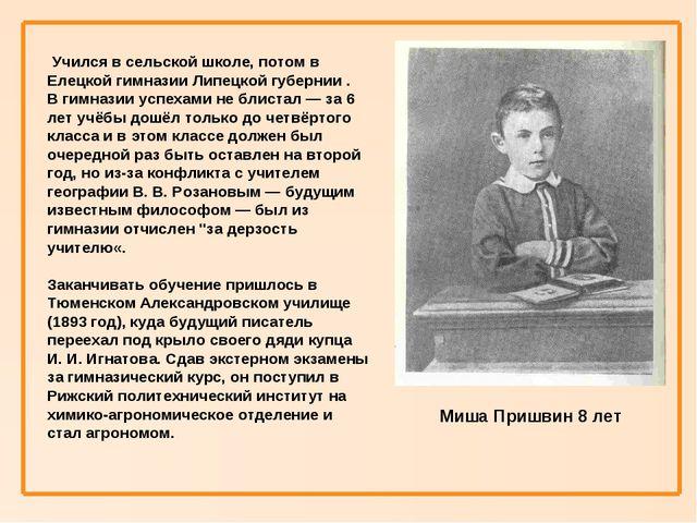 Учился в сельской школе, потом в Елецкой гимназии Липецкой губернии . В гимн...