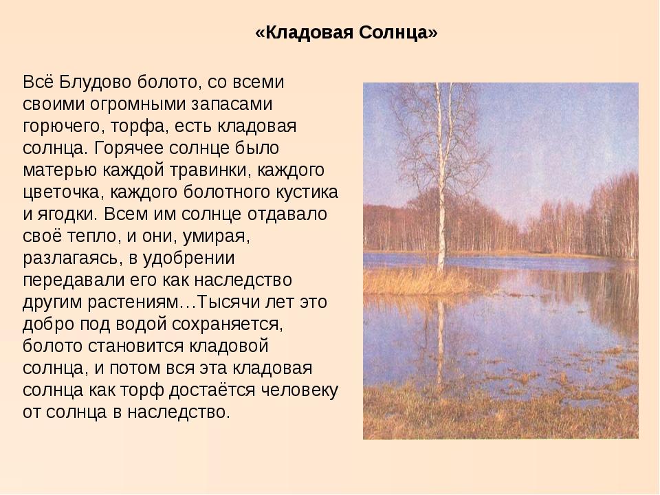 «Кладовая Солнца» Всё Блудово болото, со всеми своими огромными запасами горю...