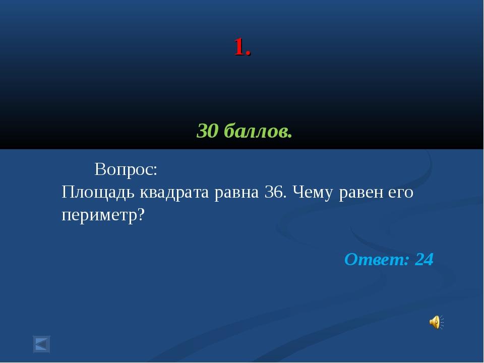 1. 30 баллов. Вопрос: Площадь квадрата равна 36. Чему равен его периметр? От...