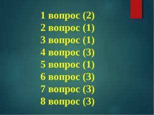 1 вопрос (2) 2 вопрос (1) 3 вопрос (1) 4 вопрос (3) 5 вопрос (1) 6 вопрос (3)