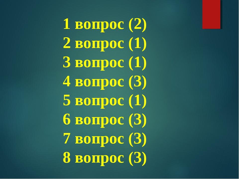 1 вопрос (2) 2 вопрос (1) 3 вопрос (1) 4 вопрос (3) 5 вопрос (1) 6 вопрос (3)...