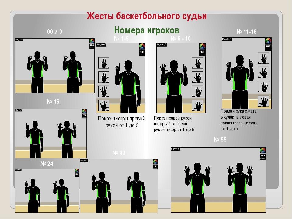 Жесты баскетбольного судьи Номера игроков 00 и 0 № 1-5 Показ цифры правой рук...