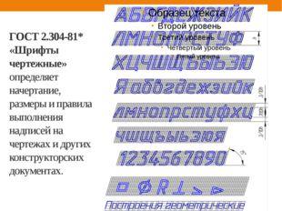 ГОСТ 2.304-81* «Шрифты чертежные» определяет начертание, размеры и правила вы