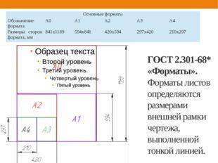 ГОСТ 2.301-68* «Форматы». Форматы листов определяются размерами внешней рамки