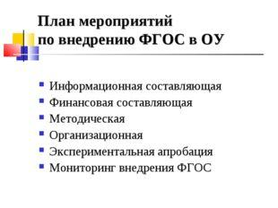 План мероприятий по внедрению ФГОС в ОУ Информационная составляющая Финансова