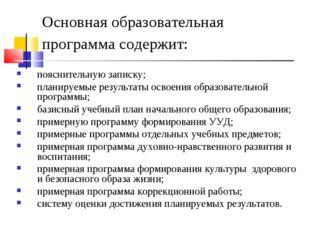 Основная образовательная программа содержит: пояснительную записку; планируем