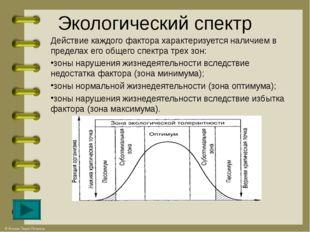Экологический спектр Действие каждого фактора характеризуется наличием в пред