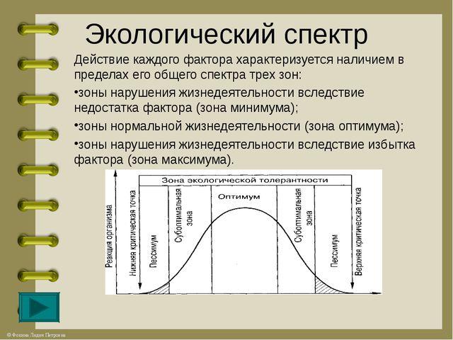 Экологический спектр Действие каждого фактора характеризуется наличием в пред...