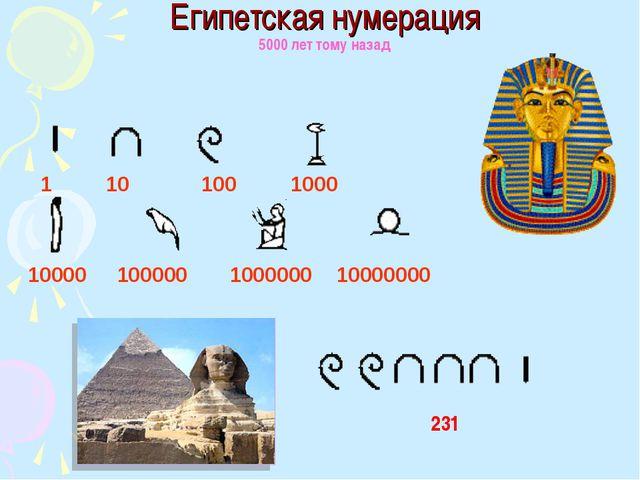 Египетская нумерация 5000 лет тому назад 1 10 100 1000 10000 100000 1000000 1...