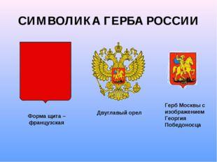 СИМВОЛИКА ГЕРБА РОССИИ Форма щита – французская Двуглавый орел Герб Москвы с