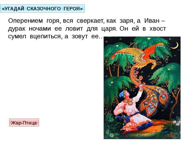 «УГАДАЙ СКАЗОЧНОГО ГЕРОЯ» Оперением горя, вся сверкает, как заря, а Иван – ду...