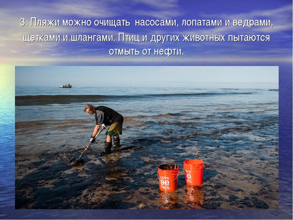 3. Пляжи можно очищать насосами, лопатами и ведрами, щетками и шлангами. Птиц...