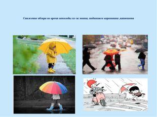 Снижение обзора во время непогоды из-за зонта, поднятого воротника ,капюшона