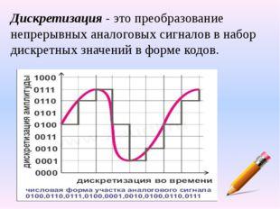 Дискретизация- это преобразование непрерывных аналоговых сигналов в набор ди