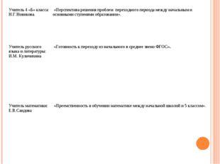 Учитель 4 «Б» класса: Н.Г.Новикова. «Перспектива решения проблем переходного