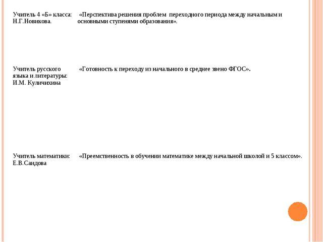 Учитель 4 «Б» класса: Н.Г.Новикова. «Перспектива решения проблем переходного...