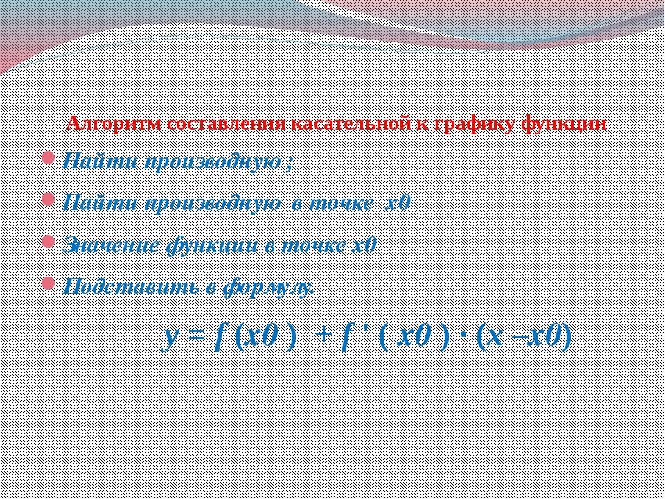 Алгоритм составления касательной к графику функции Найти производную ; Найти...