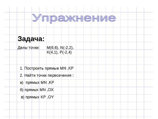 Задача: Даны точки: M(6,6), N(-2,2), K(4,1), P(-2,4) 1. Построить прямые MN ,...