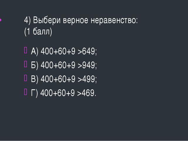 4) Выбери верное неравенство: (1 балл) А) 400+60+9 >649; Б) 400+60+9 >949; В)...