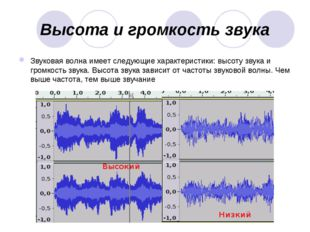 Высота и громкость звука Звуковая волна имеет следующие характеристики: высот