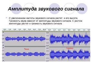 Амплитуда звукового сигнала С увеличением частоты звукового сигнала растет и