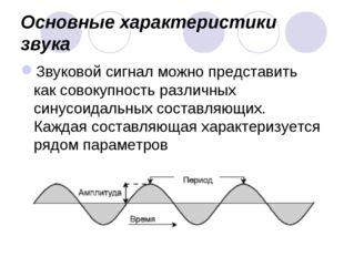 Основные характеристики звука Звуковой сигнал можно представить как совокупно