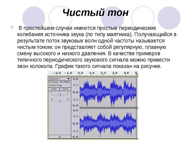 Чистый тон В простейшем случае имеются простые периодические колебания источн...
