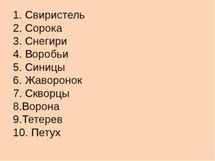 1. Свиристель 2. Сорока 3. Снегири 4. Воробьи 5. Синицы 6. Жаворонок 7. Сквор