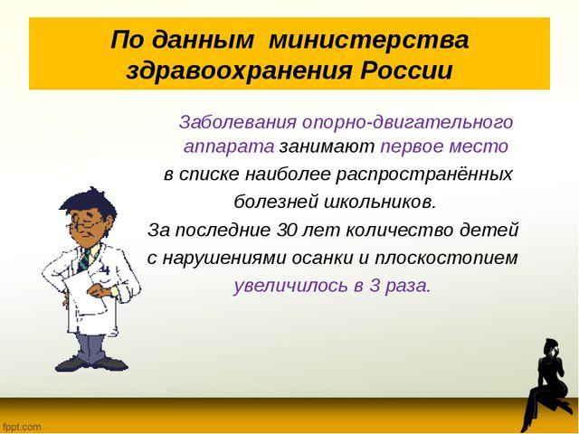 По данным министерства здравоохранения России Заболевания опорно-двигательно...