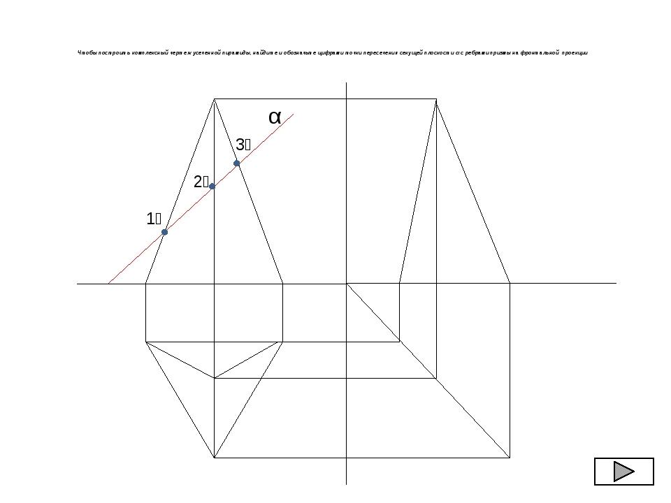 Чтобы построить комплексный чертеж усеченной пирамиды, найдите и обозначьте...