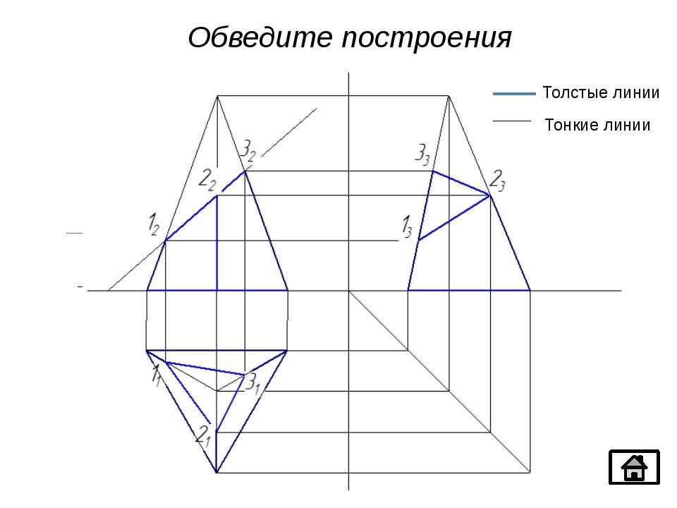 α 1₂ 2₂ 3₂ 3₃ 2₃ 1₃ 1₁ 2₁ 3₁ Обведите построения α Толстые линии Тонкие линии