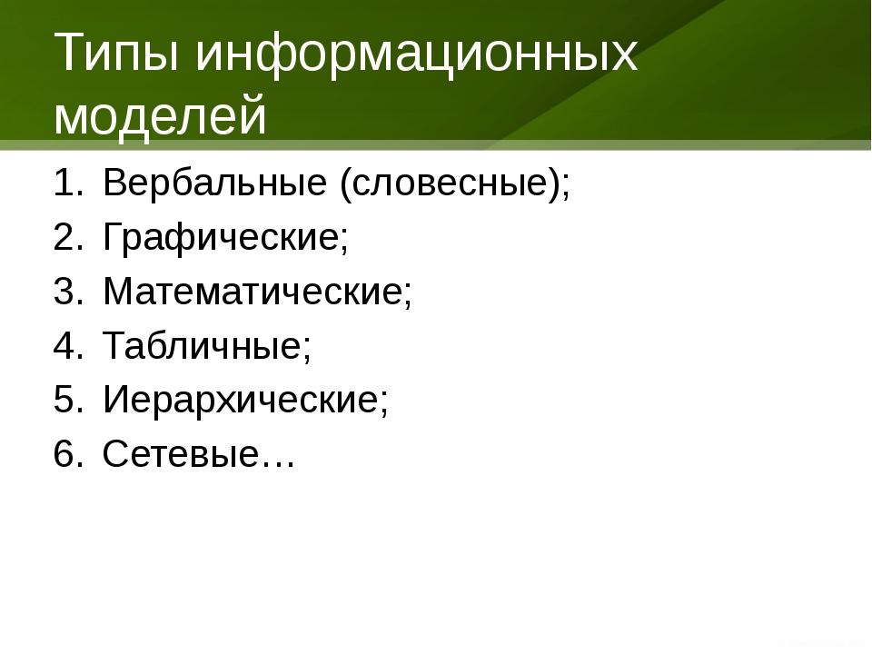 Типы информационных моделей Вербальные (словесные); Графические; Математическ...