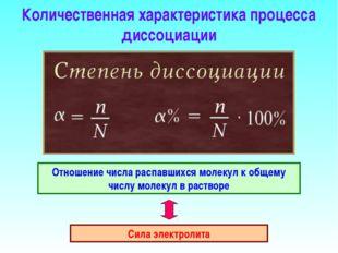Количественная характеристика процесса диссоциации Отношение числа распавшихс