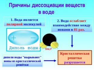 Причины диссоциации веществ в воде Кристаллическая решетка разрушается