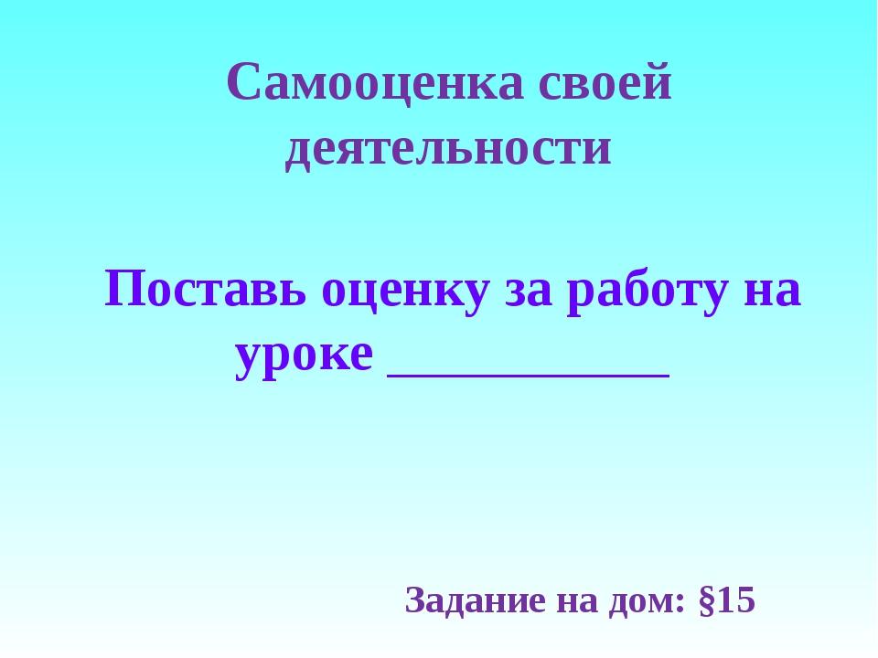 Самооценка своей деятельности Задание на дом: §15 Поставь оценку за работу на...