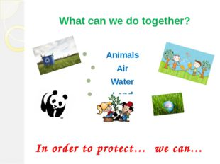 What can we do together? Animals Air Water Land In order to protect… we can…