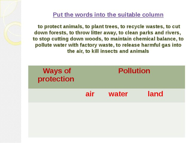 Put the words into the suitable column to protect animals, to plant trees, t...