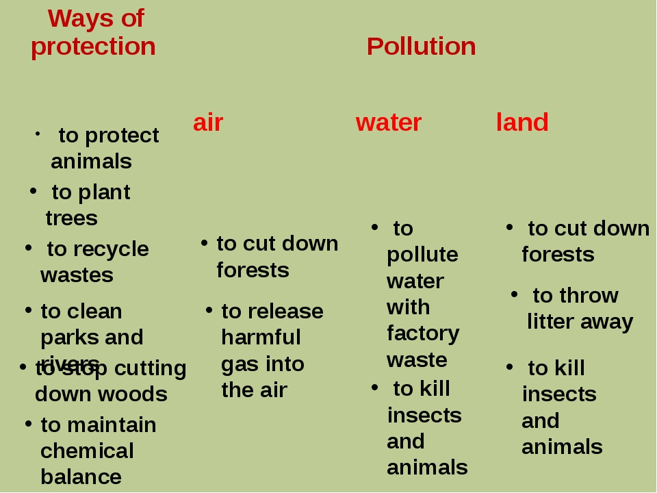 to protect animals to plant trees to recycle wastes to cut down forests to c...