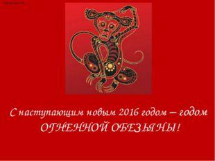 С наступающим новым 2016 годом – годом ОГНЕННОЙ ОБЕЗЬЯНЫ! Каптелова Н.В.