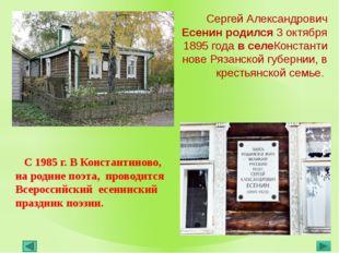 С 1985 г. В Константиново, на родине поэта, проводится Всероссийский есенинс