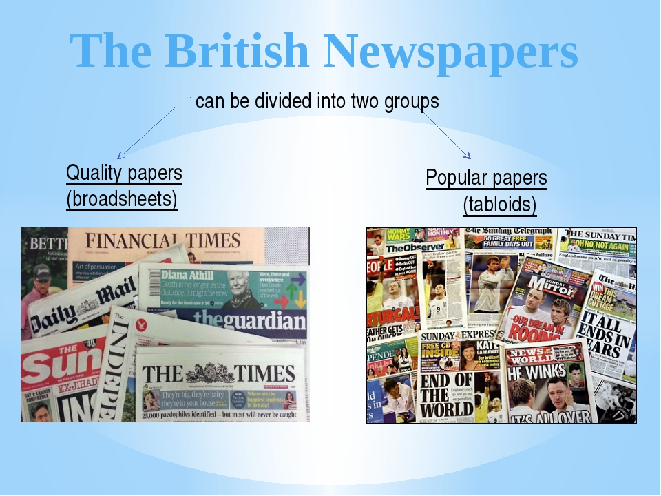 The British Newspapers Quality papers (broadsheets) Popular papers (tabloids)...