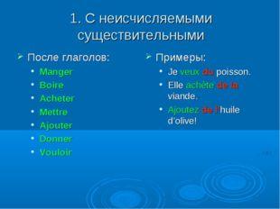 1. С неисчисляемыми существительными После глаголов: Manger Boire Acheter Met